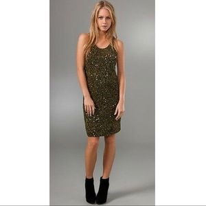 NWT Alice + Olivia Green Sequin Tank Dress